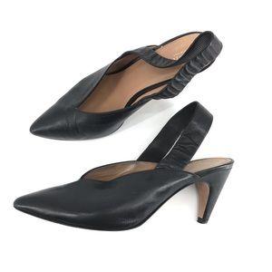 Lewit Marta Slingback Pump Heel Mule Black Leather